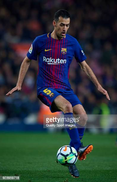 Sergio Busquets of Barcelona in action during the La Liga match between Barcelona and Girona at Camp Nou on February 24 2018 in Barcelona Spain