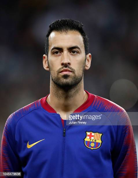 Sergio Busquets of Barcelona looks on during the Group B match of the UEFA Champions League between Tottenham Hotspur and FC Barcelona at Wembley...