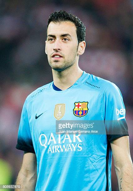 Sergio Busquets of FC Barcelola looks on prior to the start the Copa del Rey Quarter Final First Leg match between Athletic Club and FC Barcelola at...
