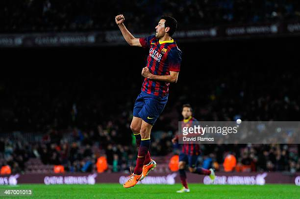 Sergio Busquets of FC Barcelona celebrates after scoring the opening goal during the Copa del Rey SemiFinal first leg match between Barcelona and...