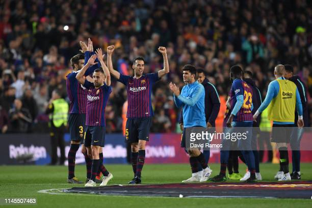 Sergio Busquets of FC Barcelona celebrates as his team win La Liga following their victory in the La Liga match between FC Barcelona and Levante UD...