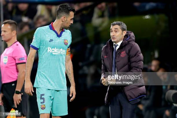 Sergio Busquets of FC Barcelona coach Ernesto Valverde of FC Barcelona during the UEFA Champions League match between Borussia Dortmund v FC...