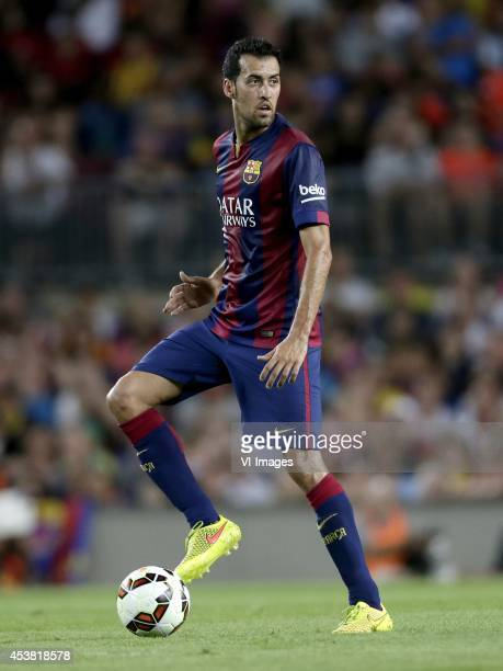 Sergio Busquets of FC Barcelona during the Joan Gamper Trophy match between FC Barcelona and Leon FC at Camp Nou on august 18 2014 in Barcelona Spain
