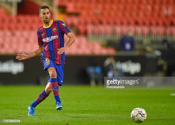 Sergio Busquets of FC Barcelona during the La Liga match between Valencia CF and FC Barcelona played at Mestalla Stadium on May 2, 2021 in Valencia,...