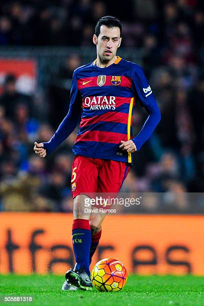 Sergio Busquets of FC Barcelona during the La Liga match between FC Barcelona and Athletic Club de Bilbao at Camp Nou on January 17 2016 in Barcelona...