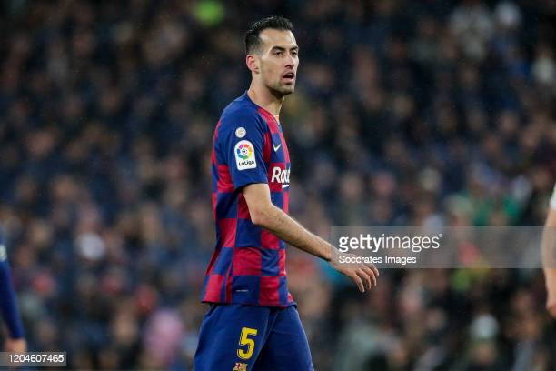 Sergio Busquets of FC Barcelona during the La Liga Santander match between Real Madrid v FC Barcelona at the Santiago Bernabeu on March 1 2020 in...