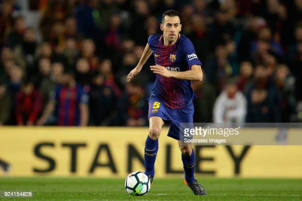 Sergio Busquets of FC Barcelona during the La Liga Santander match between FC Barcelona v Girona at the Camp Nou on February 24 2018 in Barcelona...