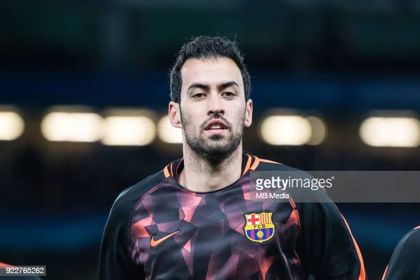 Sergio Busquets of FC Barcelona during the UEFA Champions League Round of 16 First Leg match between Chelsea FC and FC Barcelona at Stamford Bridge...
