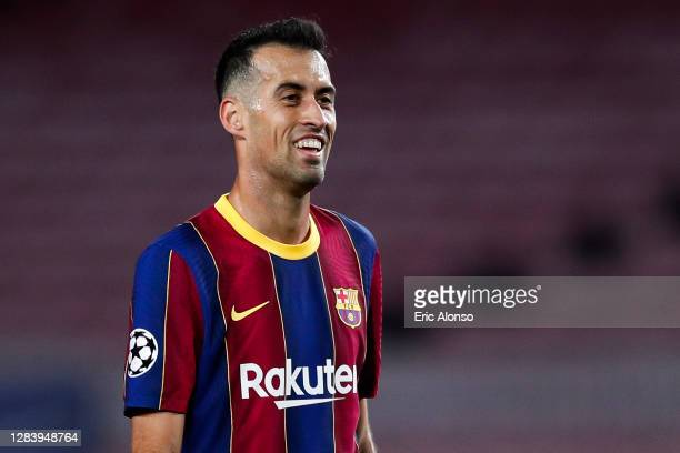 Sergio Busquets of FC Barcelona gestures during the UEFA Champions League Group G stage match between FC Barcelona and Dynamo Kyiv at Camp Nou on...