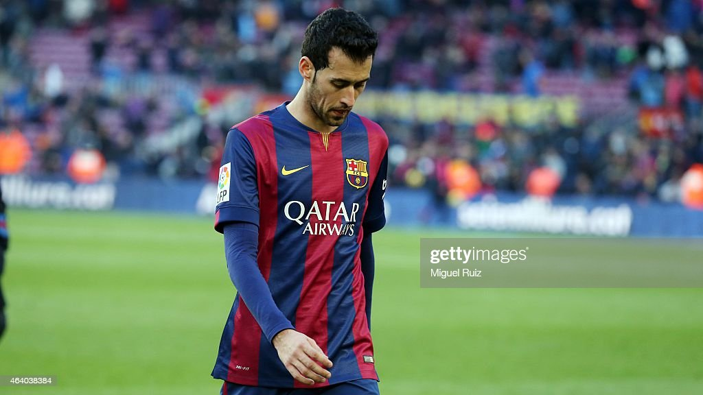 Sergio Busquets of FC Barcelona heads to the dressing room after loosing the La Liga match between FC Barcelona and Malaga CF at Camp Nou on February 21, 2015 in Barcelona, Spain.