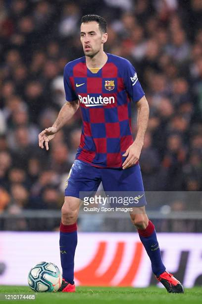 Sergio Busquets of FC Barcelona in action during the La Liga match between Real Madrid CF and FC Barcelona at Estadio Santiago Bernabeu on March 01...