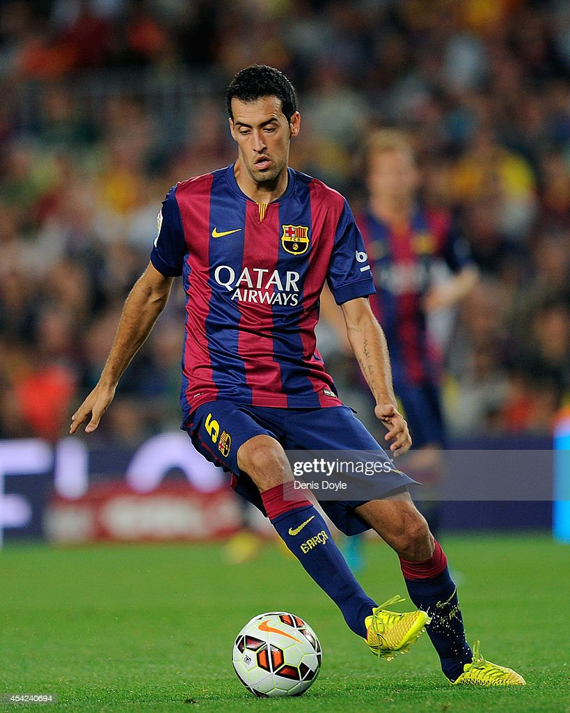 Sergio Busquets of FC Barcelona in action during the La Liga match between FC Barcelona and Elche FC at Camp Nou stadium on August 24, 2014 in Barcelona, Spain.