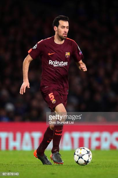 Sergio Busquets of FC Barcelona in action during the UEFA Champions League Round of 16 First Leg match between Chelsea FC and FC Barcelona at...