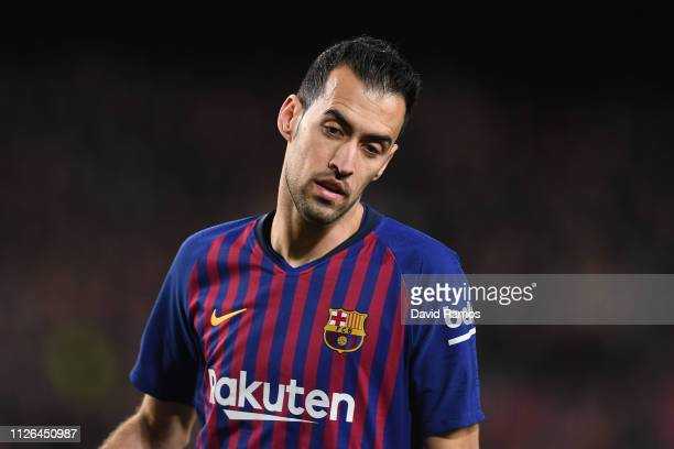 Sergio Busquets of FC Barcelona looks on during the Copa del Quarter Final match between FC Barcelona and Sevilla FC at Nou Camp on January 30 2019...