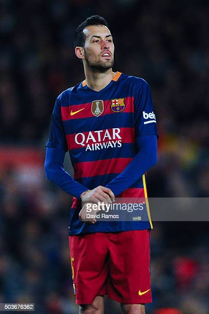 Sergio Busquets of FC Barcelona looks on during the Copa del Rey Round of 16 first leg match between FC Barcelona and RCD Espanyol at Camp Nou on...