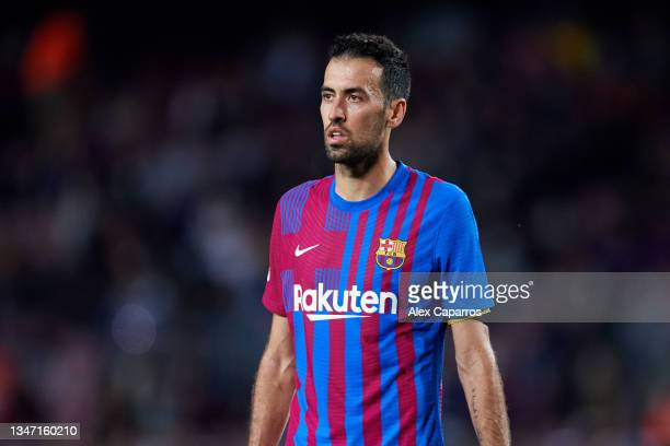 Sergio Busquets of FC Barcelona looks on during the LaLiga Santander match between FC Barcelona and Valencia CF at Camp Nou on October 17, 2021 in...