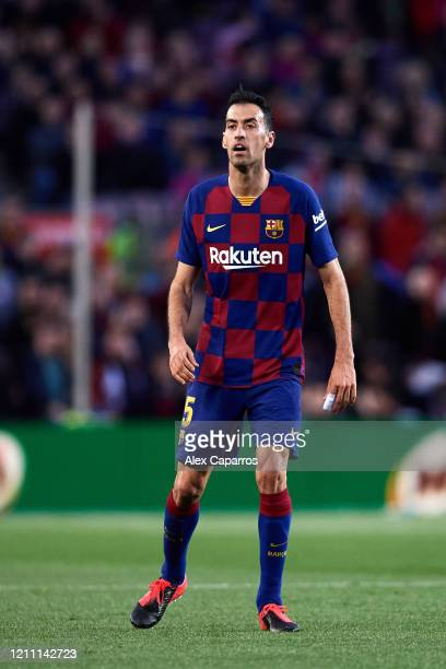 Sergio Busquets of FC Barcelona looks on during the Liga match between FC Barcelona and Real Sociedad at Camp Nou on March 07 2020 in Barcelona Spain