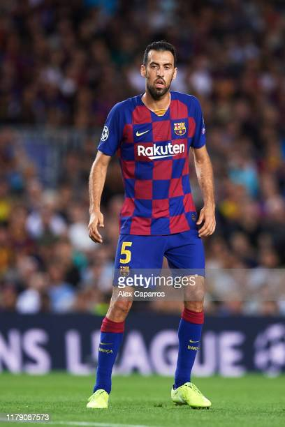 Sergio Busquets of FC Barcelona looks on during the UEFA Champions League group F match between FC Barcelona and Inter at Camp Nou on October 02,...