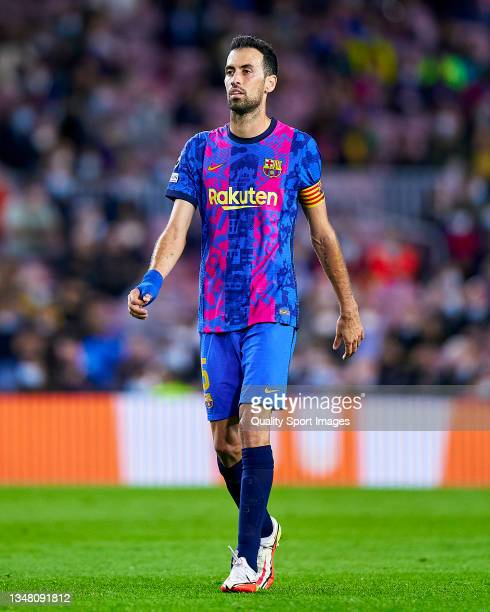 Sergio Busquets of FC Barcelona looks on during the UEFA Champions League group E match between FC Barcelona and Dinamo Kiev at Camp Nou on October...