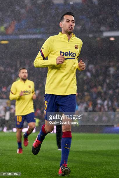 Sergio Busquets of FC Barcelona looks on prior the game during the Liga match between Real Madrid CF and FC Barcelona at Estadio Santiago Bernabeu on...