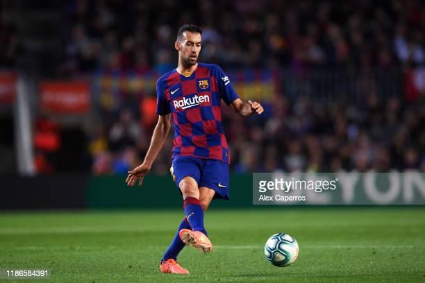 Sergio Busquets of FC Barcelona plays the ball during the La Liga match between FC Barcelona and RC Celta de Vigo at Camp Nou stadium on November 09,...