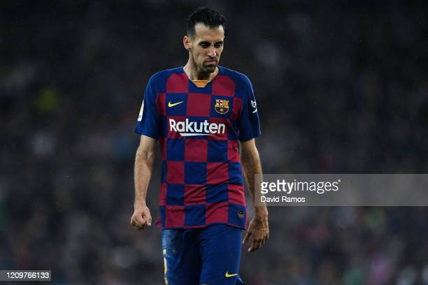 Sergio Busquets of FC Barcelona shows his dejection during the Liga match between Real Madrid CF and FC Barcelona at Estadio Santiago Bernabeu on...