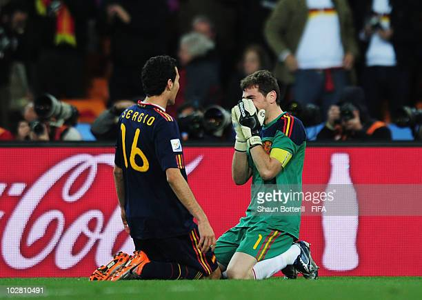 f3d92a32d50 Sergio Busquets of Spain and Iker Casillas of Spain celebrate winning the  2010 FIFA World Cup
