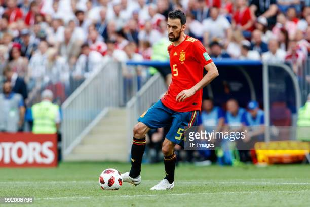 Sergio Busquets of Spain controls the ball during the 2018 FIFA World Cup Russia match between Spain and Russia at Luzhniki Stadium on July 01 2018...