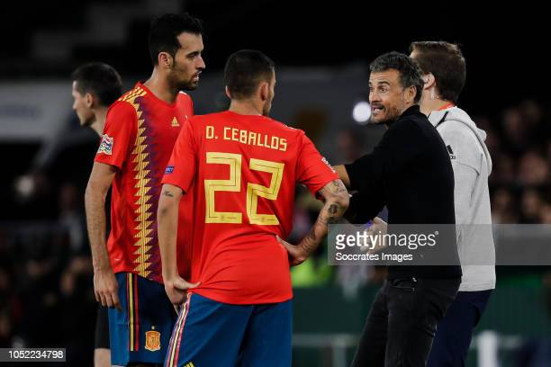 Sergio Busquets of Spain, Dani Ceballos of Spain, coach Luis Enrique of Spain during the UEFA Nations league match between Spain v England at the...