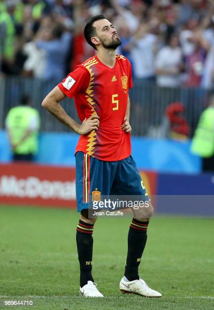 Sergio Busquets of Spain dejected following the 2018 FIFA World Cup Russia Round of 16 match between Spain and Russia at Luzhniki Stadium on July 1...