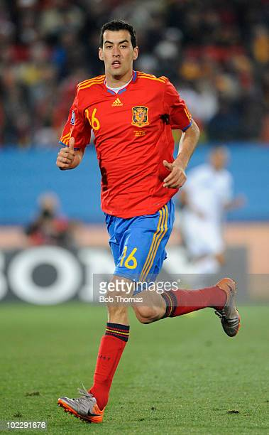Sergio Busquets of Spain during the 2010 FIFA World Cup South Africa Group H match between Spain and Honduras at Ellis Park Stadium on June 21 2010...