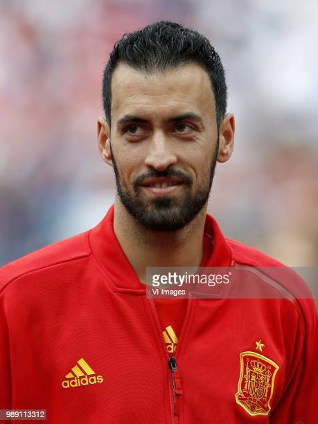 Sergio Busquets of Spain during the 2018 FIFA World Cup Russia round of 16 match between Spain and Russia at the Luzhniki Stadium on July 01 2018 in...