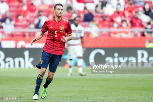 Sergio Busquets of Spain during the International Friendly match between Spain v Portugal at the Estadio Wanda Metropolitano on June 4, 2021 in...