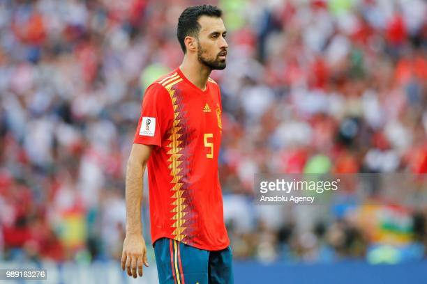 Sergio Busquets of Spain gestures during 2018 FIFA World Cup Russia Round of 16 match between Spain and Russia at the Luzhniki Stadium in Moscow...