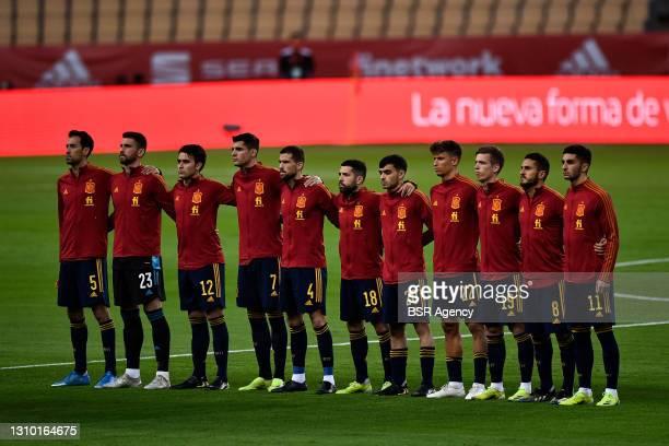 Sergio Busquets of Spain, goalkeeper Unai Simon of Spain, Eric Garcia of Spain, Alvaro Morata of Spain, Inigo Martinez of Spain, Jordi Alba of Spain,...