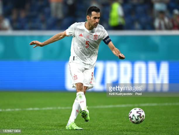 Sergio Busquets of Spain hits the post from their side's first penalty in a penalty shoot out during the UEFA Euro 2020 Championship Quarter-final...