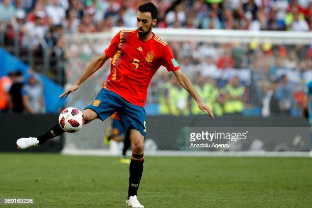Sergio Busquets of Spain in action during 2018 FIFA World Cup Russia Round of 16 match between Spain and Russia at the Luzhniki Stadium in Moscow...