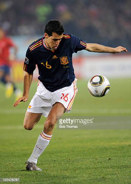 Sergio Busquets of Spain in action during the 2010 FIFA World Cup South Africa Group H match between Chile and Spain at Loftus Versfeld Stadium on...