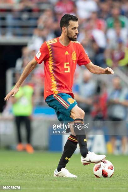 Sergio Busquets of Spain in action during the 2018 FIFA World Cup Russia round of 16 match between Spain and Russia at the Luzhniki Stadium on July...