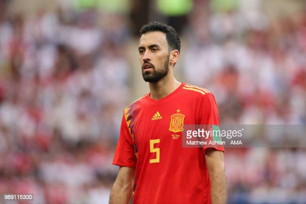 Sergio Busquets of Spain in action during the 2018 FIFA World Cup Russia Round of 16 match between Spain and Russia at Luzhniki Stadium on July 1...