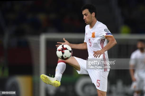 Sergio Busquets of Spain in action during the FIFA 2018 World Cup Qualifier between FYR Macedonia and Spain at Nacional Arena Filip II Makedonski on...
