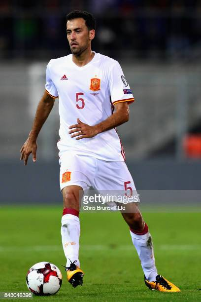 Sergio Busquets of Spain in action during the FIFA 2018 World Cup Qualifier between Liechtenstein and Spain at Rheinpark Stadion on September 5 2017...