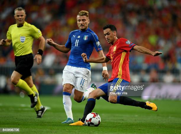 Sergio Busquets of Spain in action during the FIFA 2018 World Cup Qualifier between Spain and Italy at Estadio Santiago Bernabeu on September 2 2017...