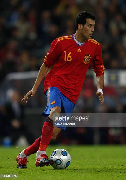 Sergio Busquets of Spain in action during the friendly International football match Spain against Argentina at the Vicente Calderon stadium in Madrid...