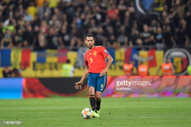 Sergio Busquets of Spain in action during the UEFA EURO 2020 group F qualifying football match Romania vs Spain at Arena Nationala on September 05...