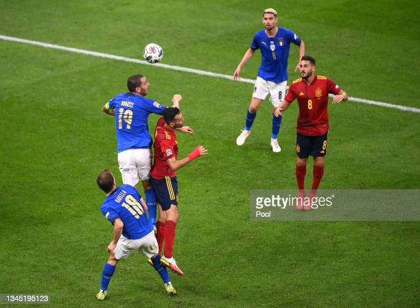 Sergio Busquets of Spain is fouled by Leonardo Bonucci of Italy leading to a red card being shown during the UEFA Nations League 2021 Semi-final...