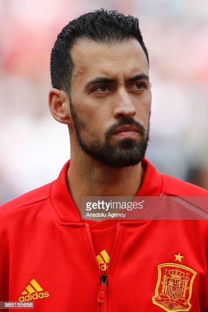Sergio Busquets of Spain is seen ahead of the 2018 FIFA World Cup Russia Round of 16 match between Spain and Russia at the Luzhniki Stadium in Moscow...