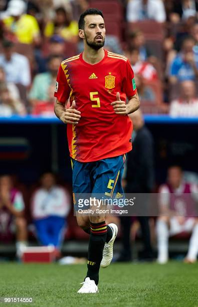 Sergio Busquets of Spain looks on during the 2018 FIFA World Cup Russia Round of 16 match between Spain and Russia at Luzhniki Stadium on July 1 2018...