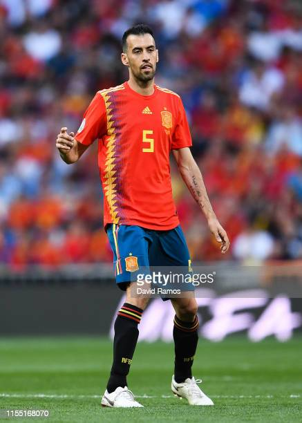 Sergio Busquets of Spain looks on during the UEFA Euro 2020 qualifier match between Spain and Sweden at Bernabeu on June 10, 2019 in Madrid, Spain.