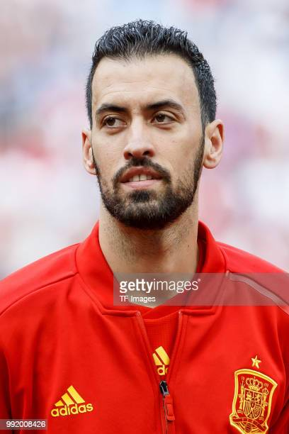 Sergio Busquets of Spain looks on prior to the 2018 FIFA World Cup Russia match between Spain and Russia at Luzhniki Stadium on July 01 2018 in...